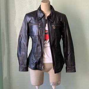 HARLEY-DAVIDSON Leather Biker / Moto Jacket, sz S